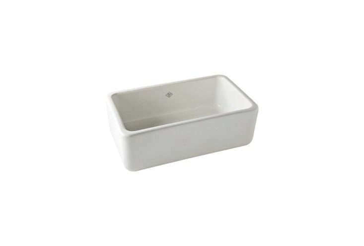 Shaw's Original 3018 Fireclay Apron Front Sink from Rohl is a classic farmhouse sink, still individually made in Lancashire, England. The 30-inch-wide model is $1,118 at Home Depot. (For more apron front sinks, see 10 Easy Pieces: White Kitchen Farmhouse Sinks.)