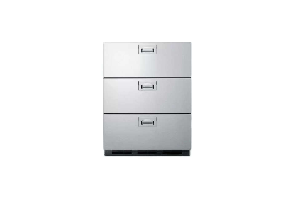Summit S 24 Inch Wide Triple Drawer Refrigerator Has All Stainless Steel Construction