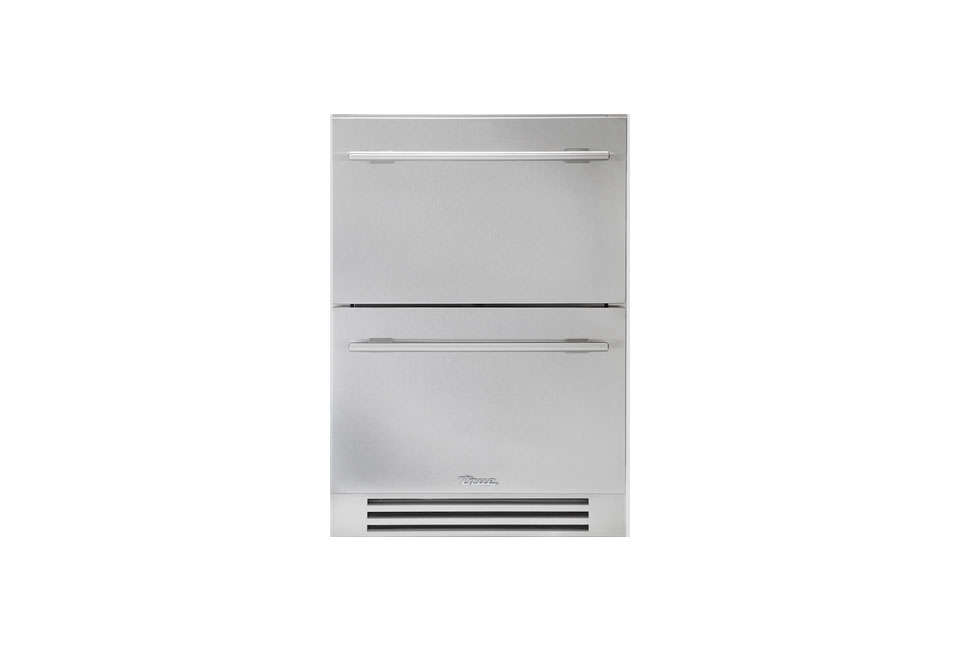 Commercial refrigerator company True offers a residential set of two 24-inch Stainless Steel Under-Counter Refrigerator Drawers. Go to True for dealers and pricing.