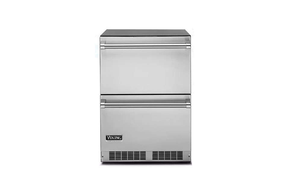 The Viking Professional 5 Series 24-Inch, Double-Drawer Refrigerator is made of stainless steel inside and out; $3,164 from AJ Madison. See more at Viking.