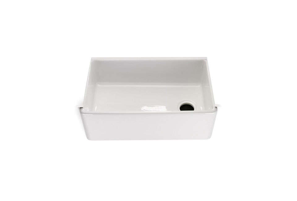 10 easy pieces white kitchen farmhouse sinks remodelista the universal fireclay farmhouse kitchen sink features a convenient offset drain 1534 at waterworks workwithnaturefo