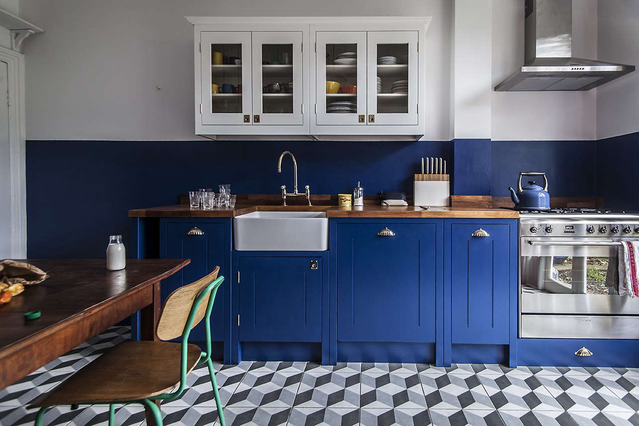 Another Kitchen By British Standard With A Colorblock Effect, Painted In  Deep Space Blue From