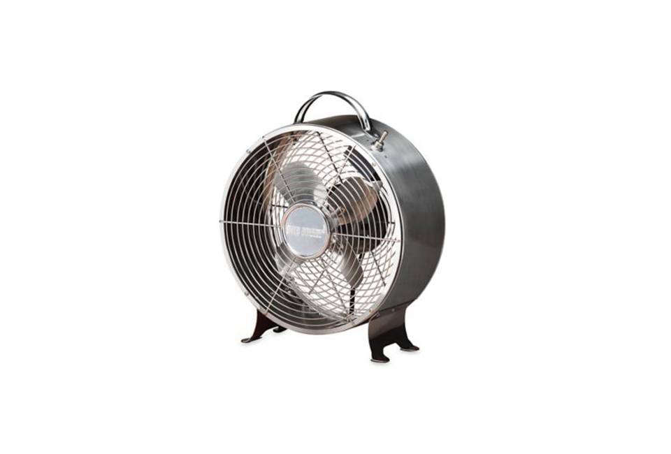 The Deco Breeze Round Retro Table Fan Is Encased In A Stainless Steel Easures