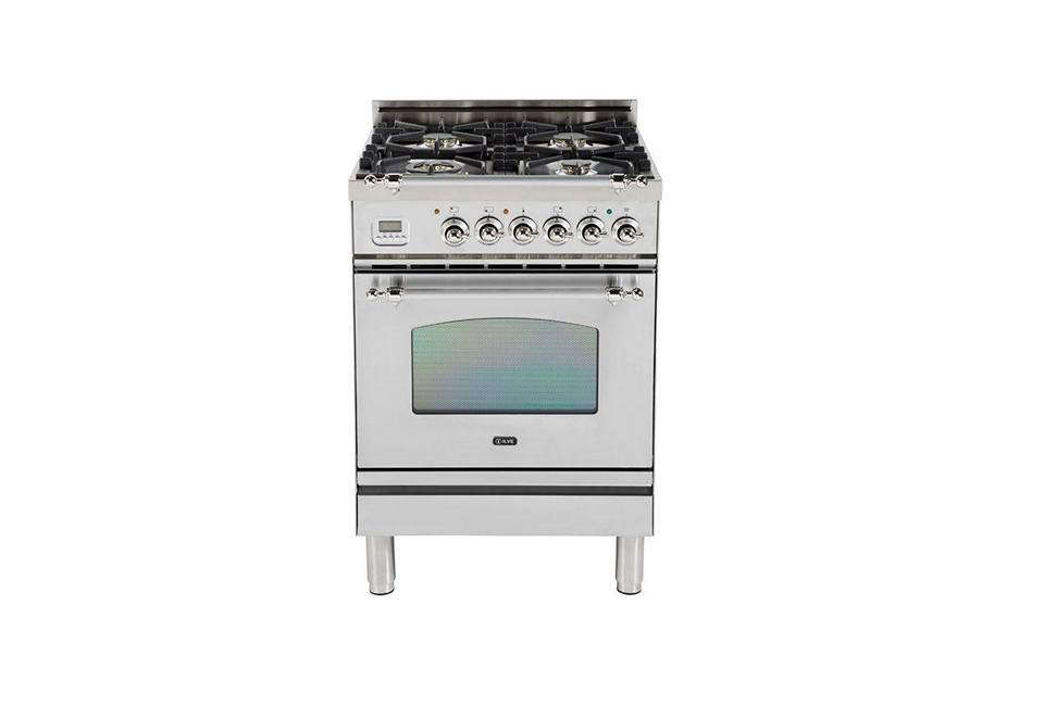 The Ilve Nostalgie Collection 24-Inch Freestanding Gas Range has a warming drawer and brass trim throughout; $3,298 at AJ Madison.