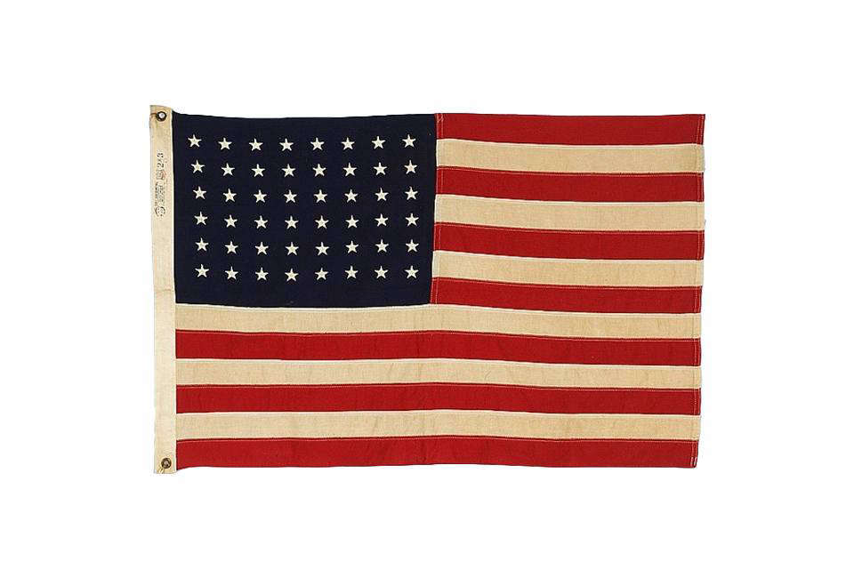 A48-Embroidered Star Flag dating from 1945 to '50, from Jeff R. Bridgman, a antiques dealer specializing in flags. This example is sold, but Bridgman has a range of others.