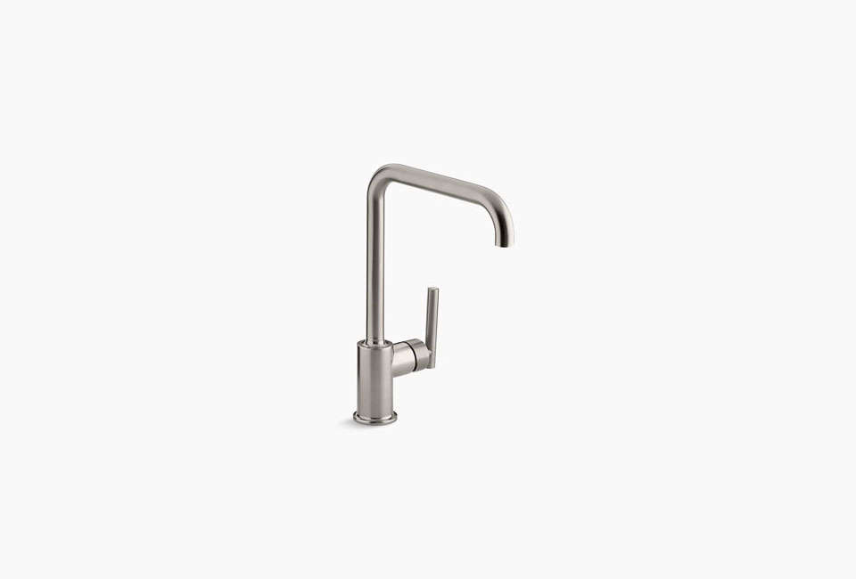 Kohler's Purist Single-Hole Kitchen Sink Faucet with an eight-inch spout is $646.25. The Purist faucet in the Brooklyn kitchen is in Vibrant Stainless.