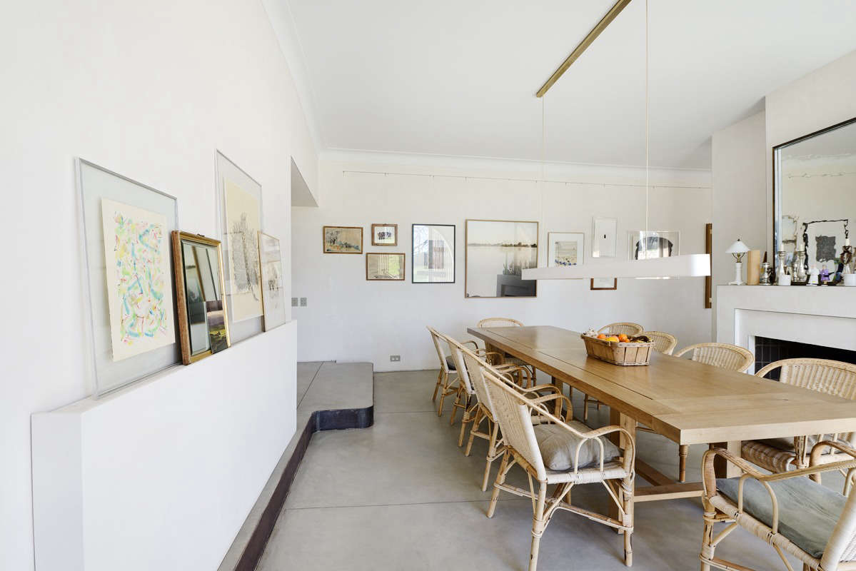 The Dining Room Is Characterized By Concrete Resin Floors And Unpainted  Plaster Walls. Photograph By