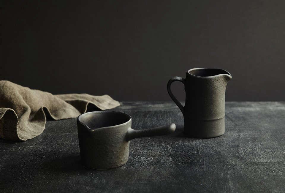 Teracotto Minis by Fiorira Un Giardino are made of black terracotta; 9 SEK ($30.55 USD) for the Milk Mug at Artilleriet.