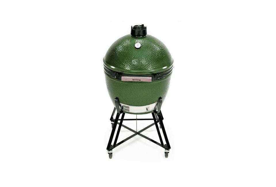 A modern version of a Japanese kamado cooker, a wood- or charcoal-fired earthen vessel capable of achieving both high and low temperatures for greater control, the Big Green Egg comes in five sizes, from mini to extra large. The Extra-Large Big Green Egg is $src=