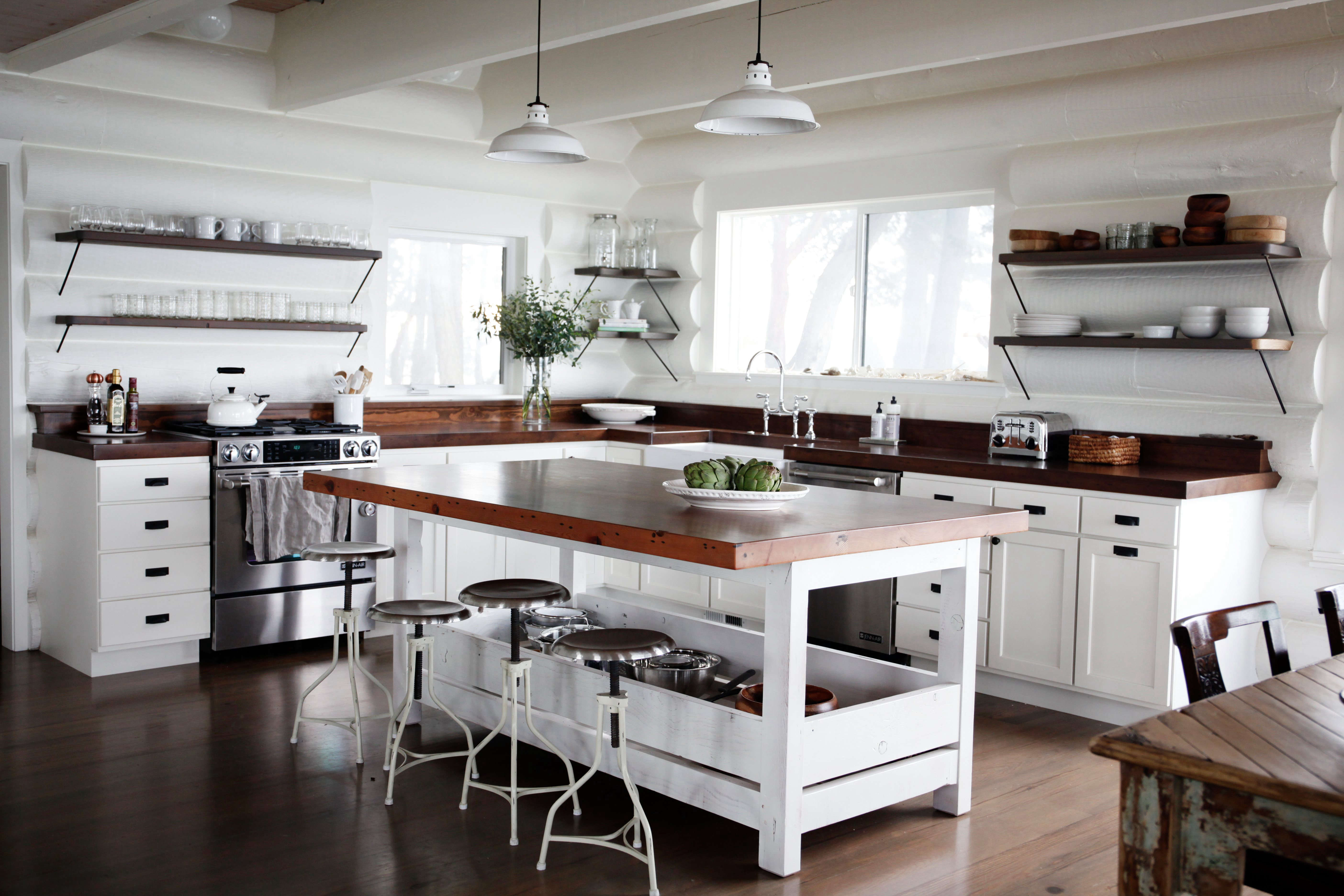 Classic New Whitewashed Cabin Kitchen San Juan Islands