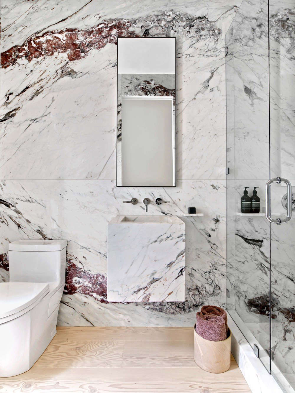 Best Professional Bath A Dramatic Marble Powder Room By Ccs