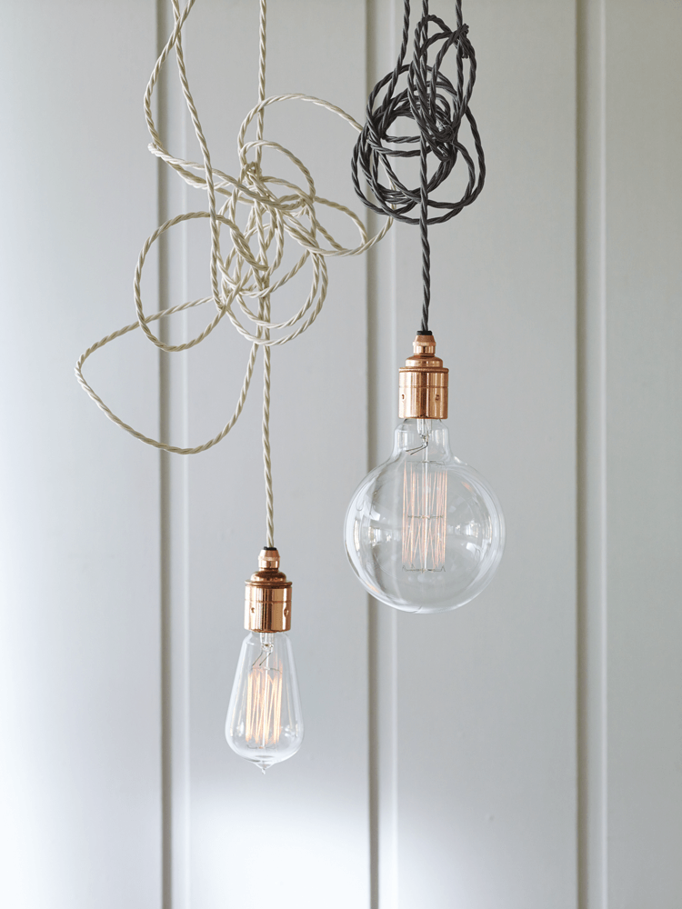 The trio of Twisted Flex & Copper Pendant Lights hanging over the island are by Cox & Cox of London; £30 ($39) each. For an energy-efficient alternative, consider the Plumen Drop Cap Pendant Set in Copper; $44.95 (and read World's Most Stylish Light Bulb, Version 002).