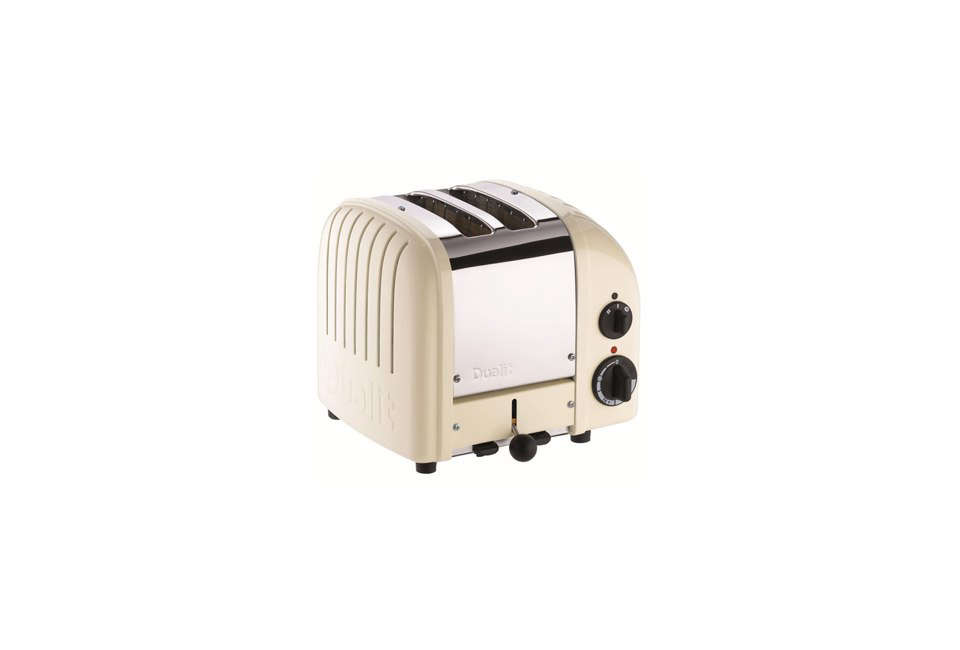 The Dualit New Generation Classic Two-Slice Toaster comes in 11 colors, including cream; $239.95 from Williams-Sonoma.