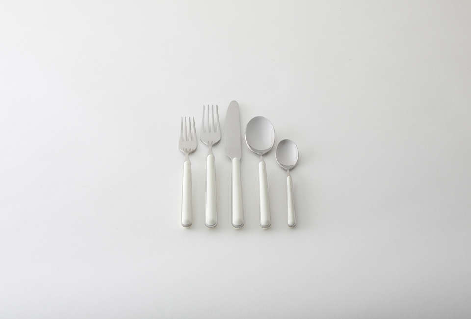 From Italian flatware brand Mepra, the Fantasia Flatware Set, shown in China White, have resin handles; $75 for a set of five at March.