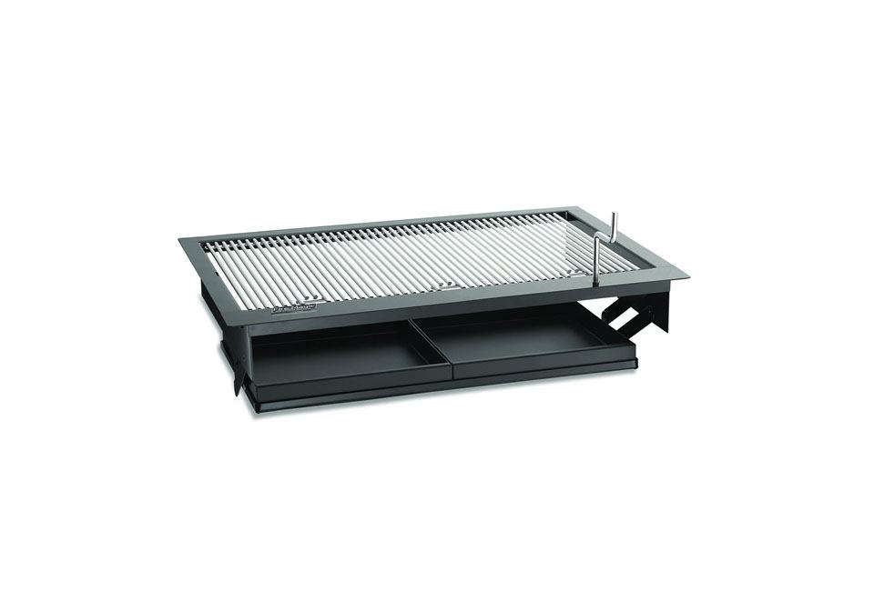 For a flush counter grill, consider the Fire Master Classic Drop-in Countertop Charcoal Grill; from $407. for the  by  inch version, at Woodland Direct.