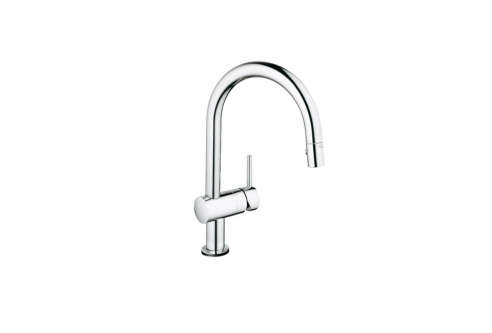 grohe 31359000 starlight chrome minta touch pull down kitchen faucet. Black Bedroom Furniture Sets. Home Design Ideas