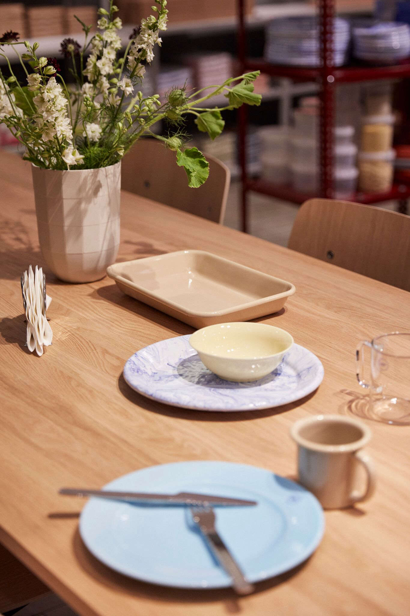 Alexa and Annie stopped by the launch of Hay Kitchen Market at the MoMA Design Store this week, Danish breakfast by Frederik Bille Brahe included. Stay tuned for a look at the full collection next week. Photograph courtesy of Hay Kitchen Market.
