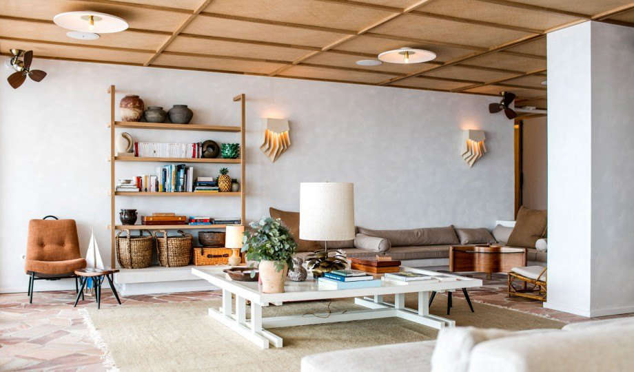 Beau Inside, A Lounge With Sconces By Guy Bareff And Midcentury Finds Sourced By  Antique Dealers