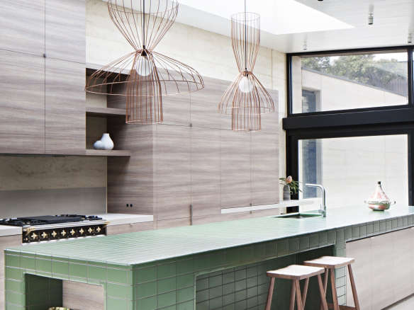 Kitchen Of The Week A Green Tiled Kitchen Island In An Indoor Outdoor Setting