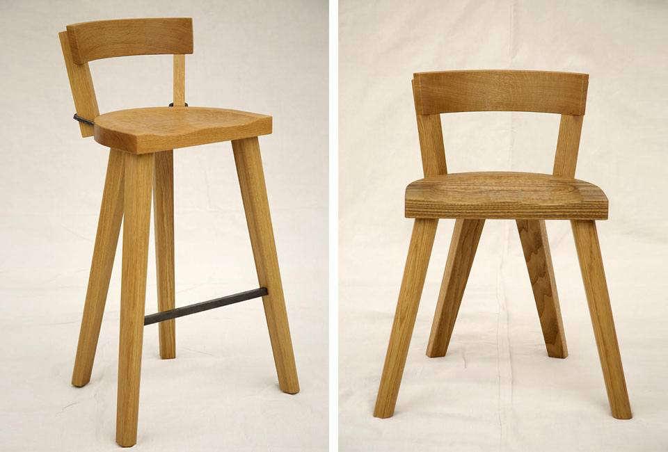 marolles bar stool and fourlegged chair