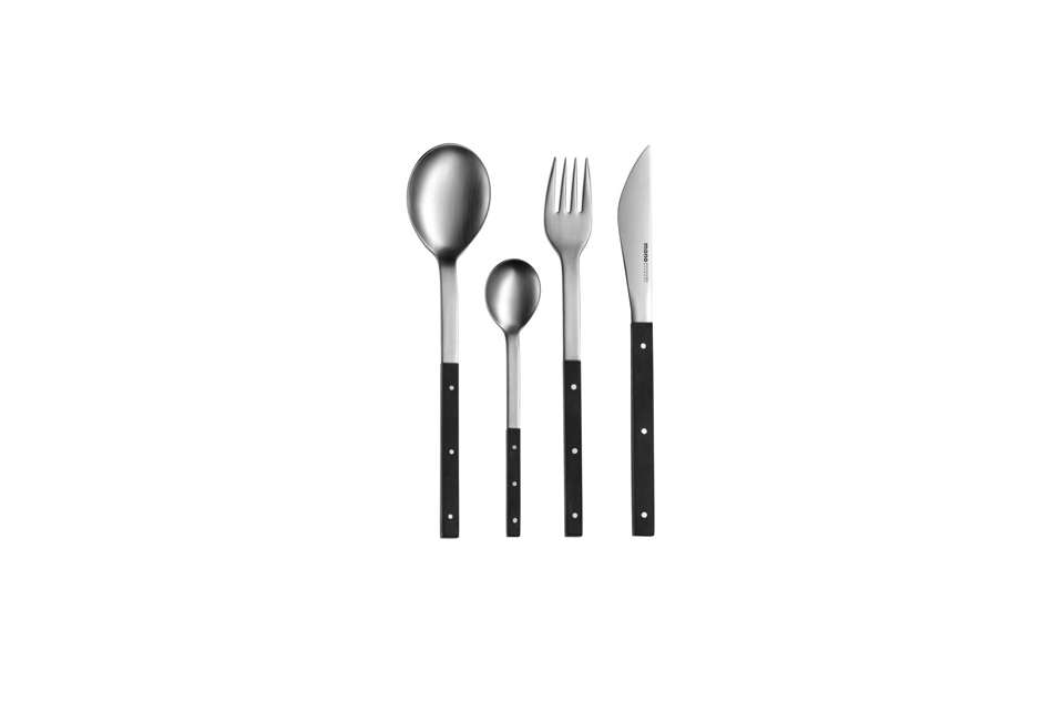 Designed in 60 by Peter Raacke, the Mono-E flatware is made of brushed steel with ebony handles; a five-piece setting of Mono-E Flatware is $384. at the Modern Room.