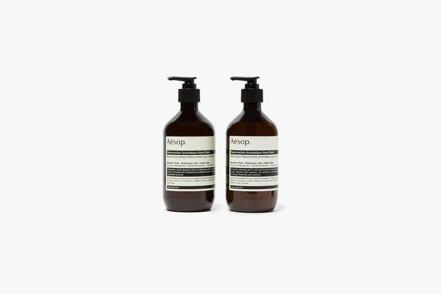 The Aesop Resurrection Duet Hand Soap and Hand Lotion is $123 at Mr Porter.