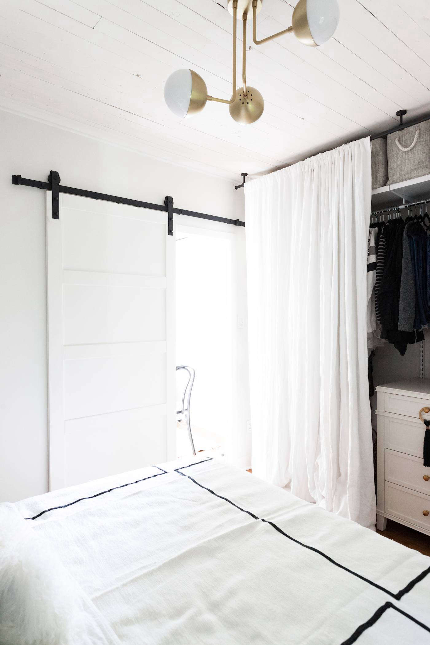Soft Top Drapes In Optic White Are Used In Lieu Of A Closet Door In