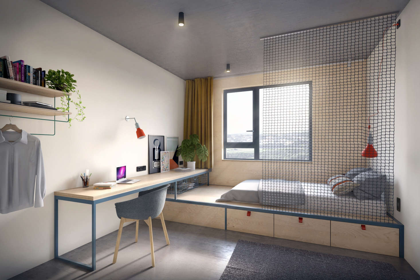 Designer dorm rooms: stylish student housing and hostel ...