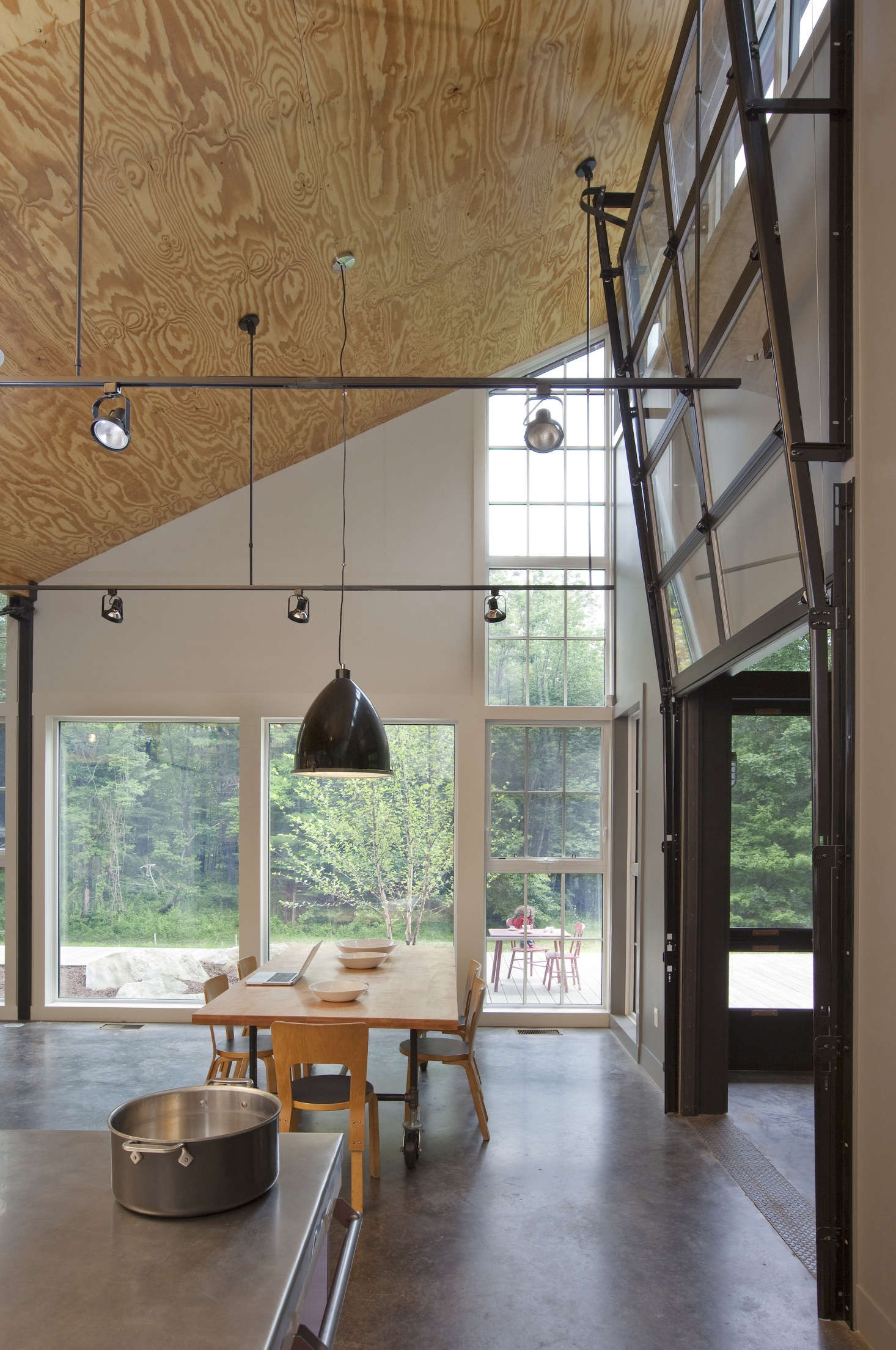 Plywood is used for the ceilings in a modern kitchen in Massachusetts by Burr & McCallum Architects, members of the Remodelista Architect and Designer Directory. See A Civilized Factory by Burr & McCallum Architects. Photograph by Peter Vanderwarker.