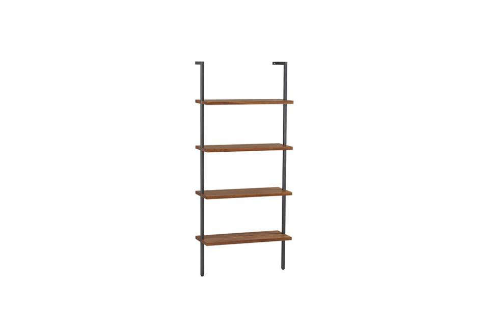 The Helix White Oak 70 Inch Wall Mounted Bookcase Features Four Fixed Blond Quartersawn