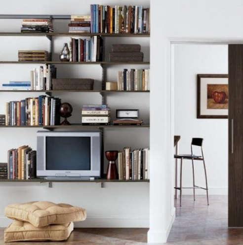 Driftwood platinum elfa living room shelving for Elfa desk system