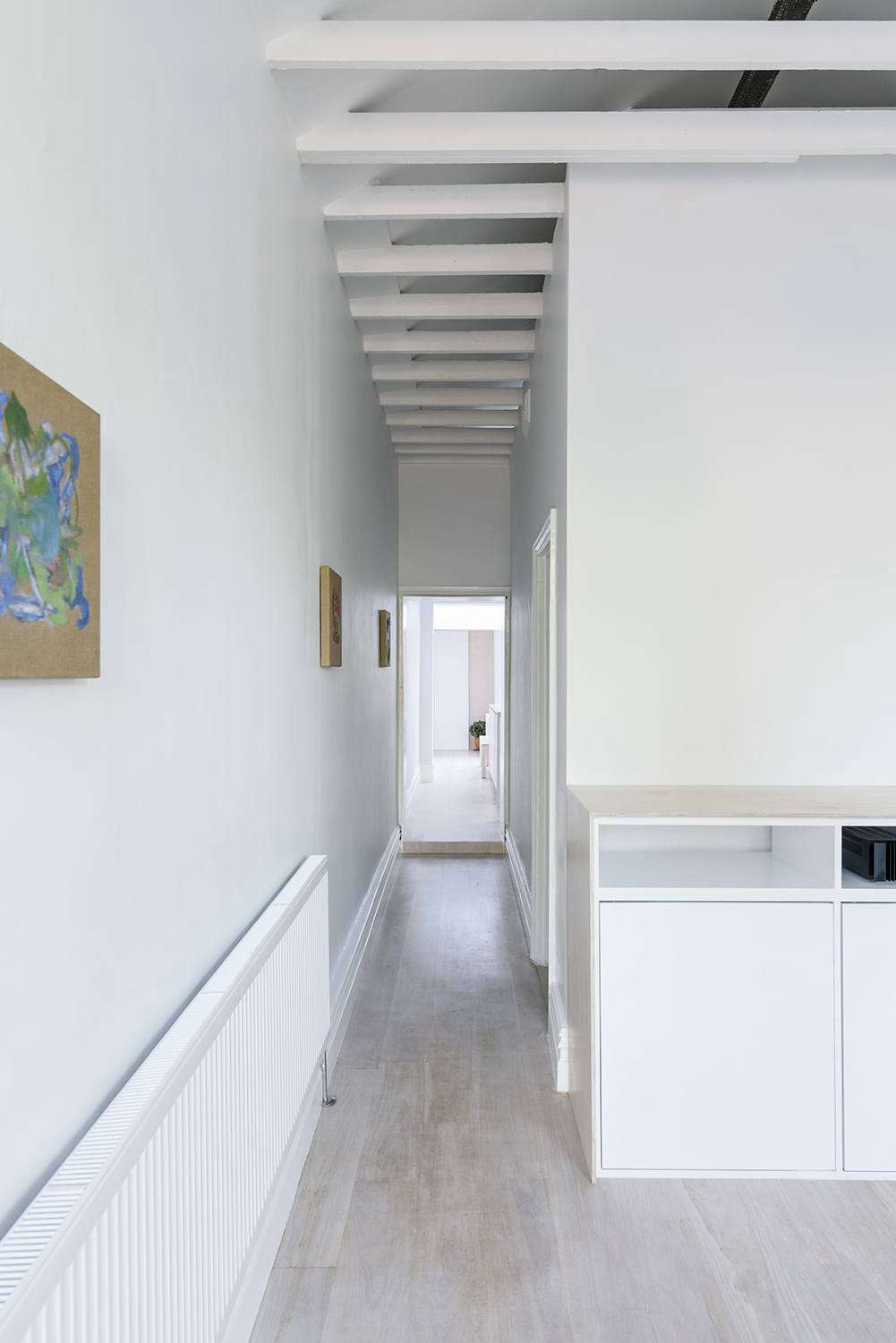 "The architect used ""a particularly bright and intense white,"" Dulux White on White, ""to make the inside as light as possible."""