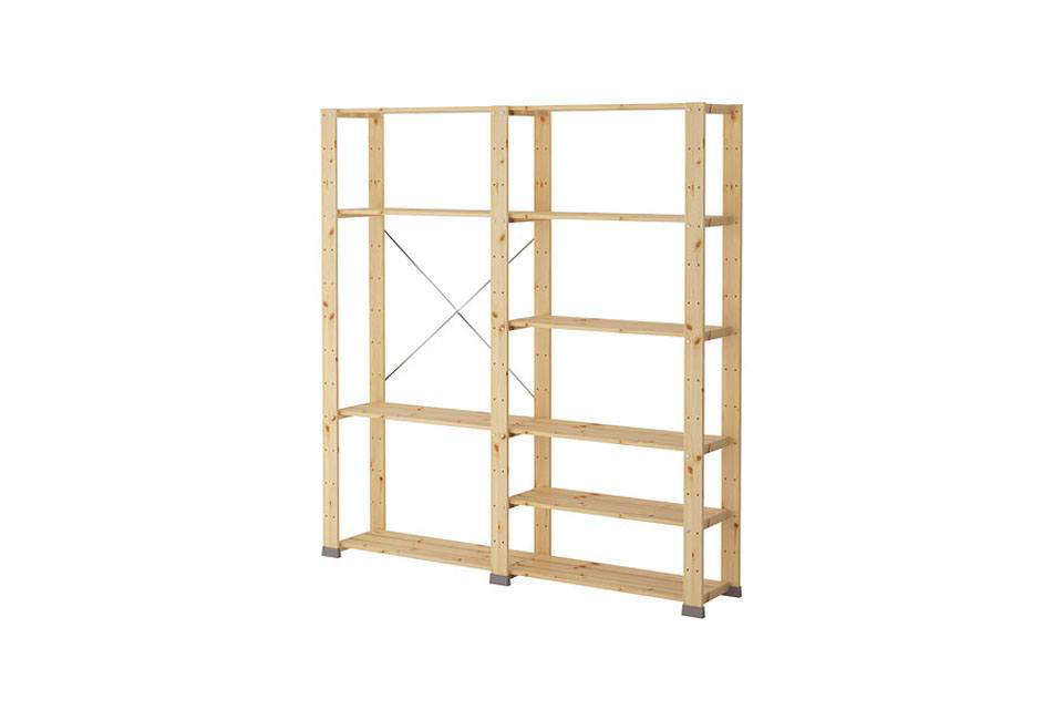 The modular Hejne Shelving Unit, shown here in two sections, is made of untreated solid pine (&#8