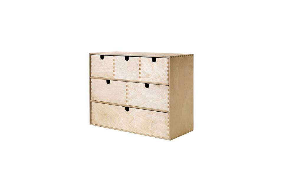 TheMoppe Mini Storage Chest is made in untreated birch; $.99.