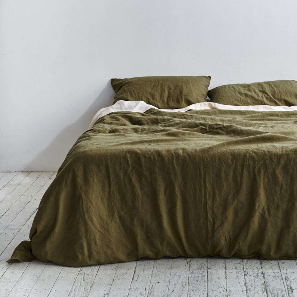 The 100 Percent Linen Duvet Set In Moss From Australian Company Bed Collaboration