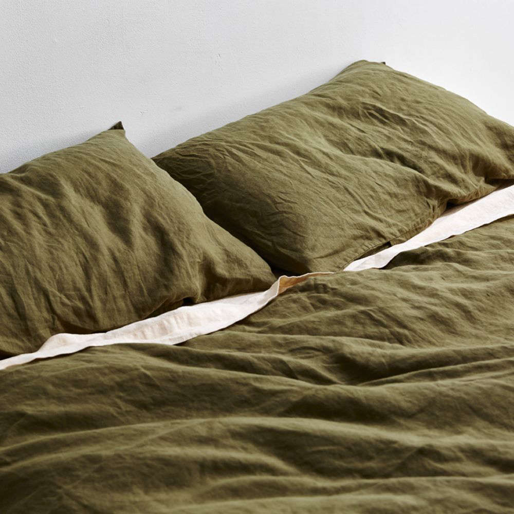 Another view of the 0 Percent Linen Duvet Set in Mossby In Bed.