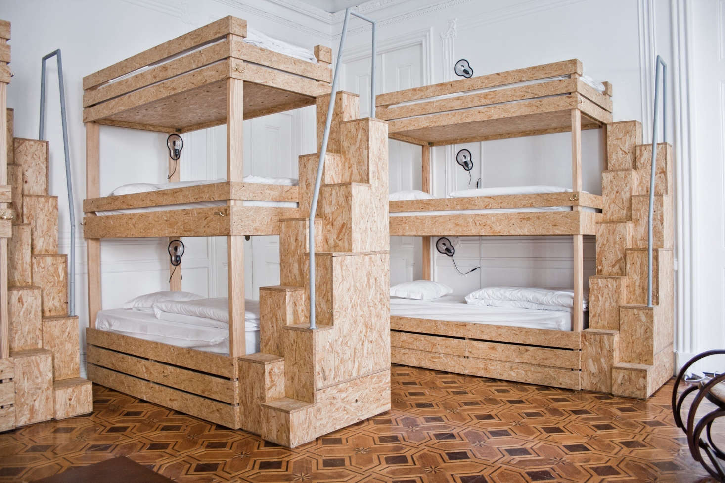 Custom Particle Board Bunk Beds Designed By Architect Catarina Cabral Contrast With The Parquet Flooring And