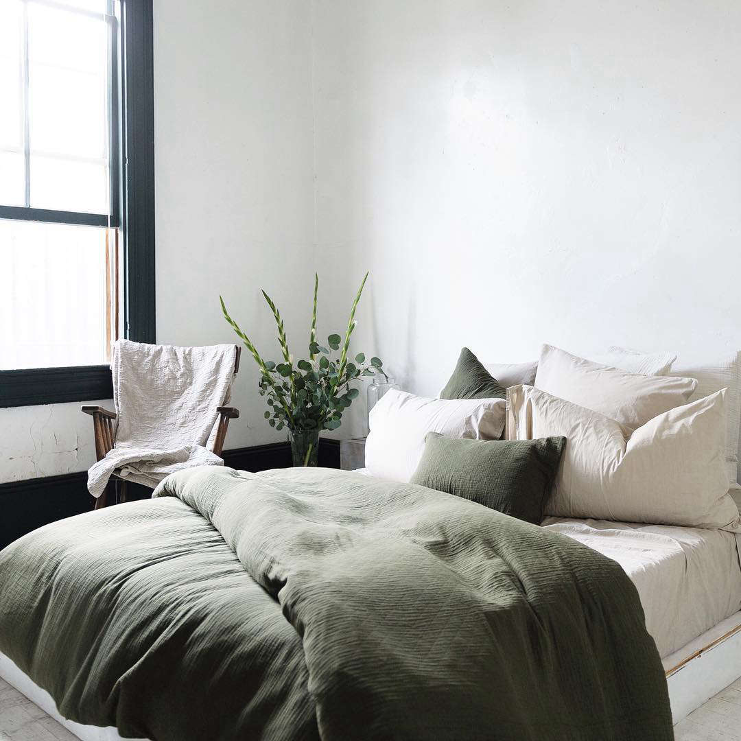 La Based Soft Goods Company Matteo Offers Vintage Linen Sheets In Olive Made With