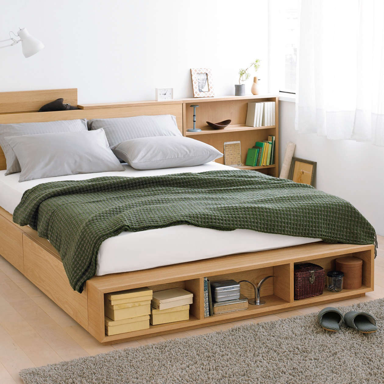 Mujiu0027s Large Double Light Ash Bed Has Two Large Storage Drawers And Can Be  Custom