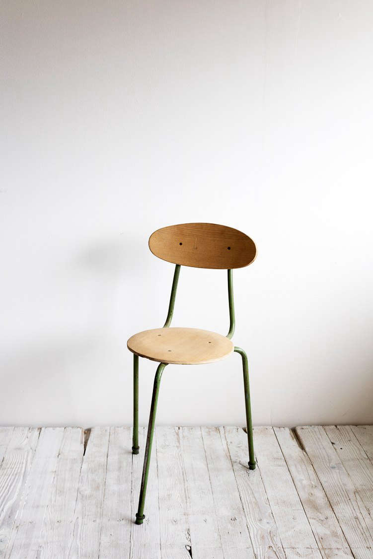 We love the vintage French finds in SF Girl by Bay's new online shop, Super Marché, in partnership with Elsie Green, like this charmingVintage Three Legged Chair in olive.
