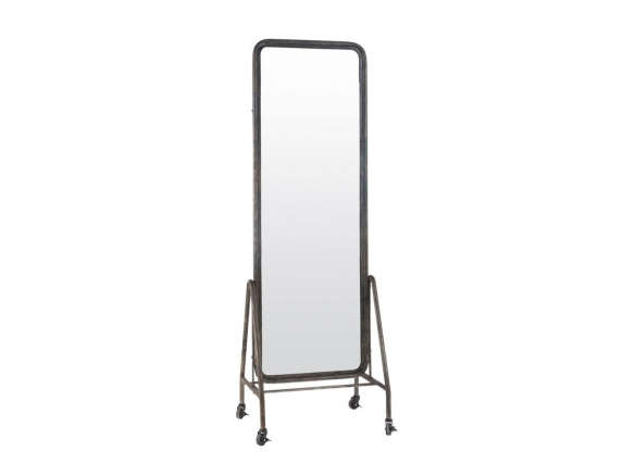 Black Inclined Free Standing Floor Mirror on Wheels