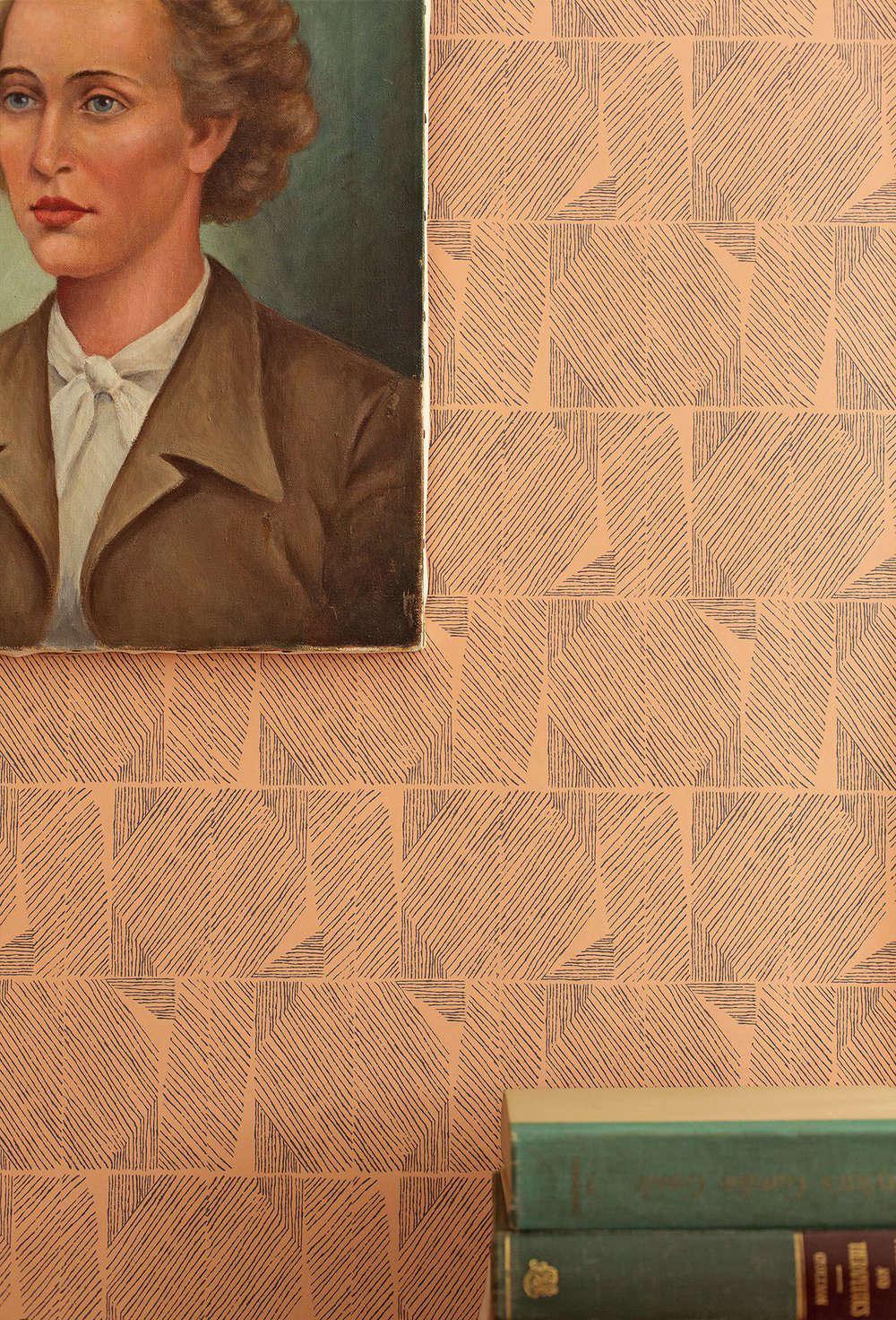 Lapel Wallpaperin Camel ($65 per yard).