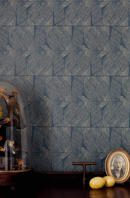 Lapel Wallpaper in Navy and Cream ($65 per yard).