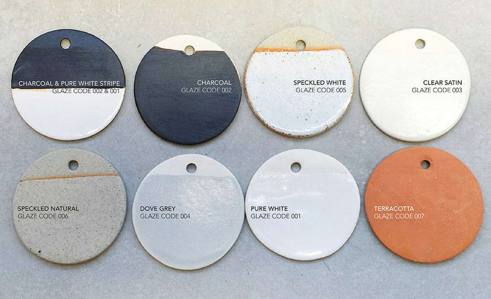 Glaze color finishes from Anchor Ceramics. For purchase inquiries, contact Anchor Ceramics or one of their stockists.
