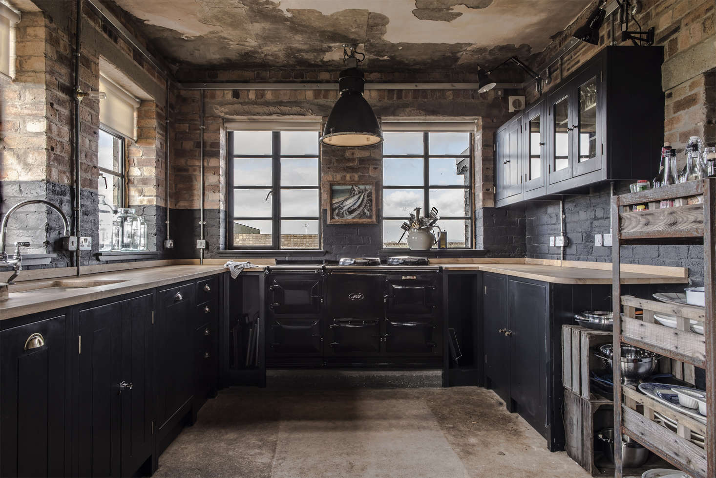 The recently installed kitchen—in what had been the officer&#8