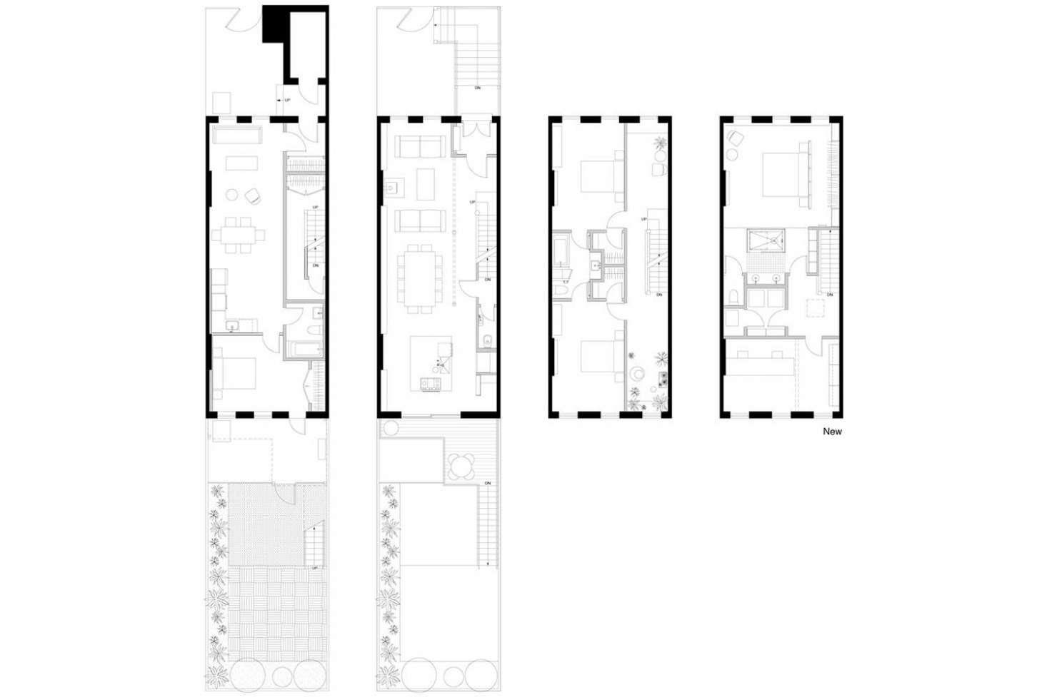 A view of the architectural plans. The garden floor is a rental unit, while Lauren and Keith live on the three floors above.