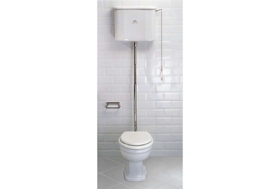 The Lefroy Brooks La Chapelle High Level Toilet is a style (the La Chapelle) designed in France in the early th century. It comes with chrome, silver nickel, and antique gold accents; £src=