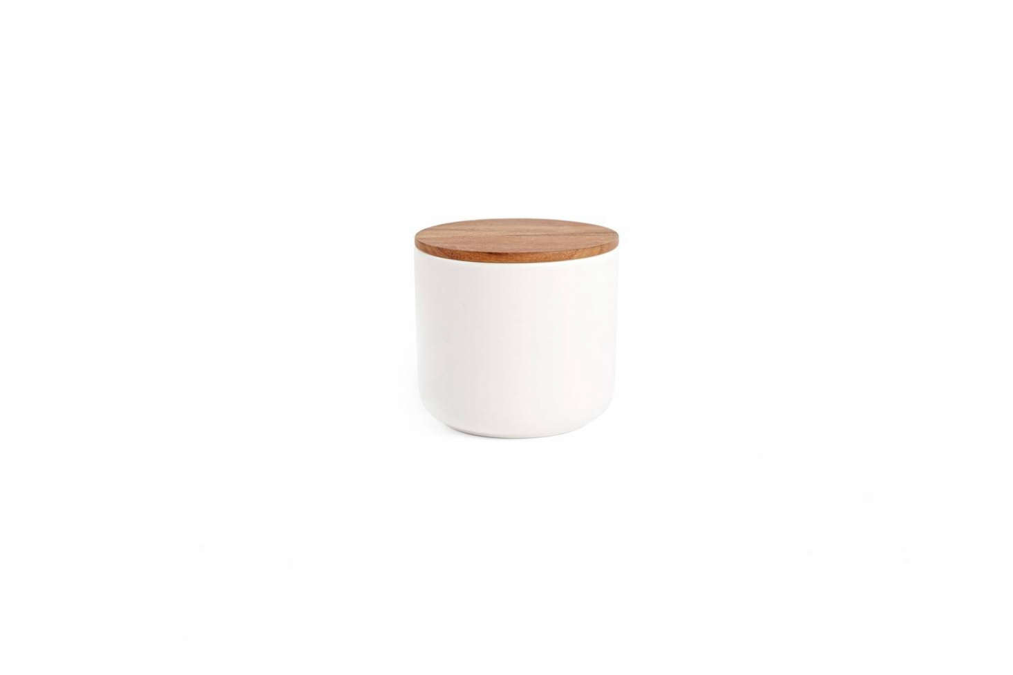 """Store soaps and toiletries in stoneware Canister with Wood Lids available in the large size for $39 each at Rejuvenation. (For a """"high"""" version of the containers, consider Vincent van Duysen's White Ceramic Canisters, available at March.)"""