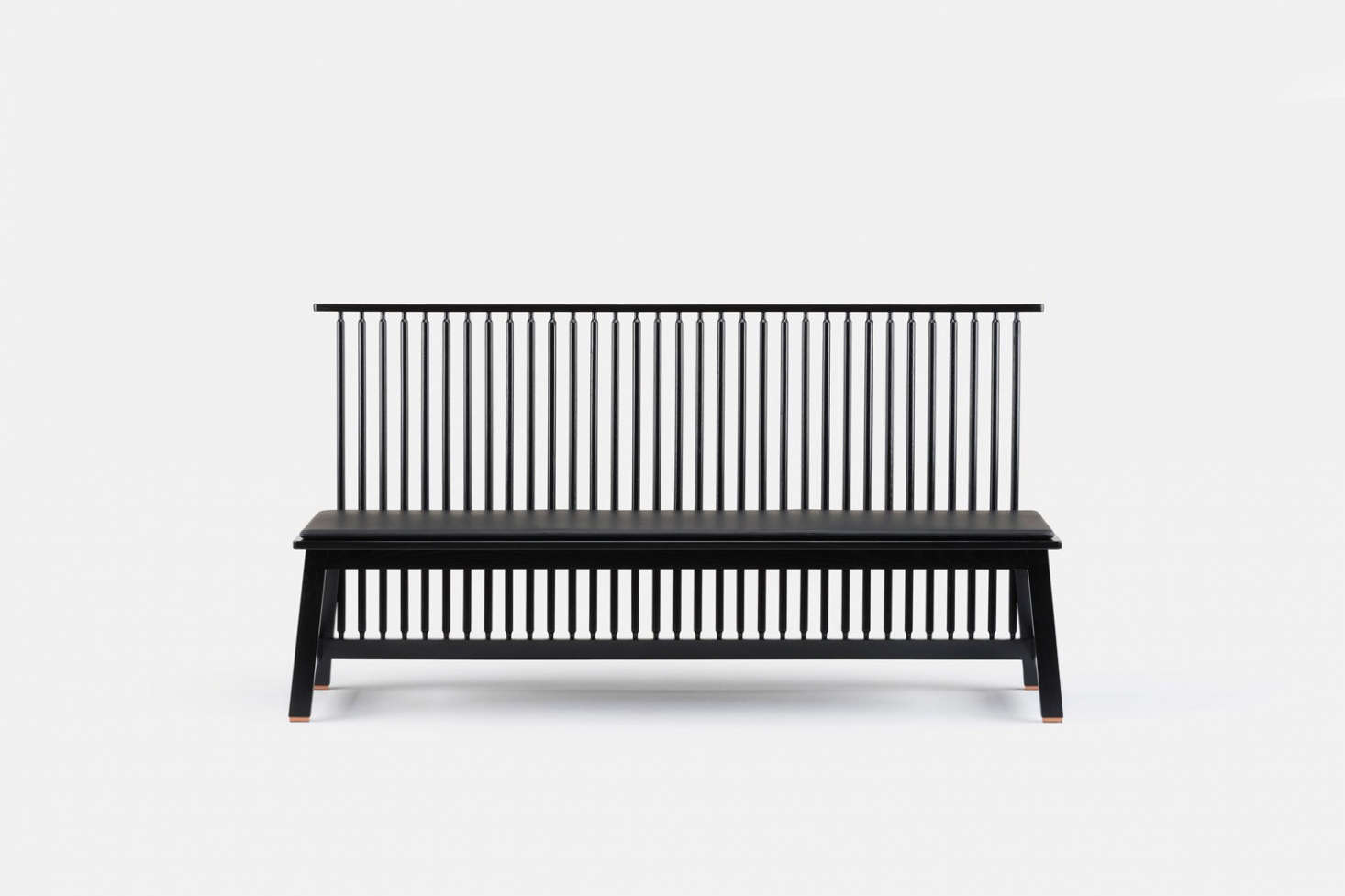 The Bench with Back is available in black painted or black stained ash; $2,695 at The Future Perfect.
