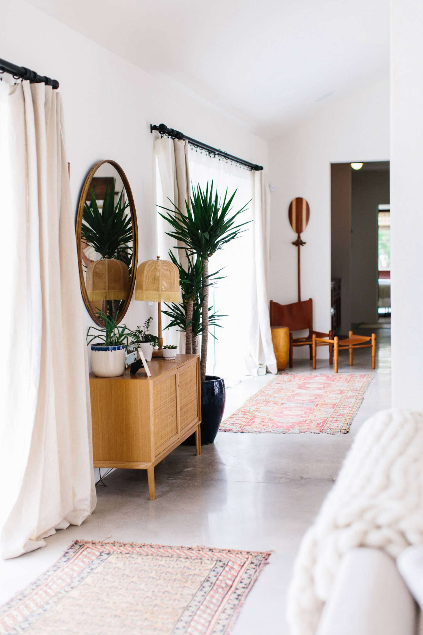 Towill sourced kilim rugs from local antiques stores.